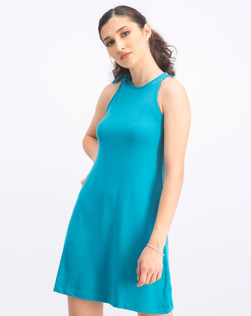 Women's Sleeveless Dress, Teal Blue