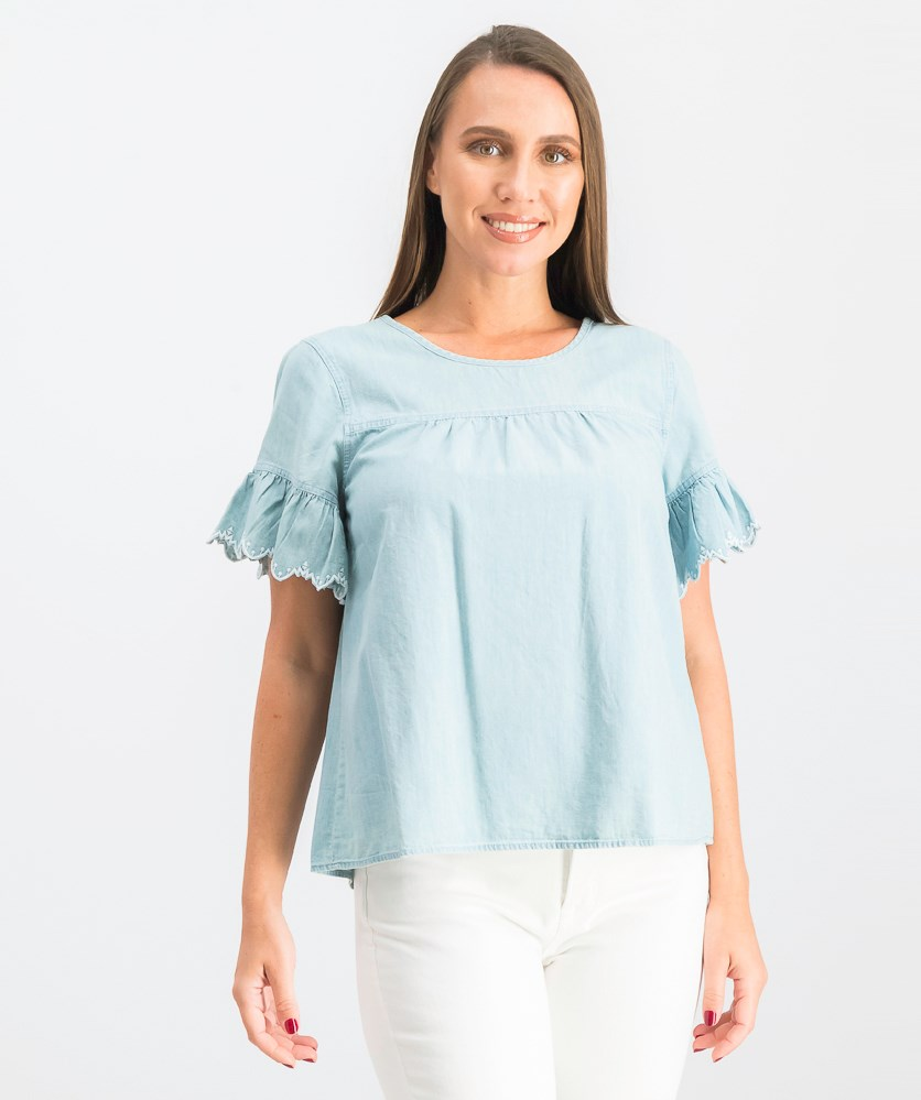 Women's  Bell Sleeve Top, Wash Blue