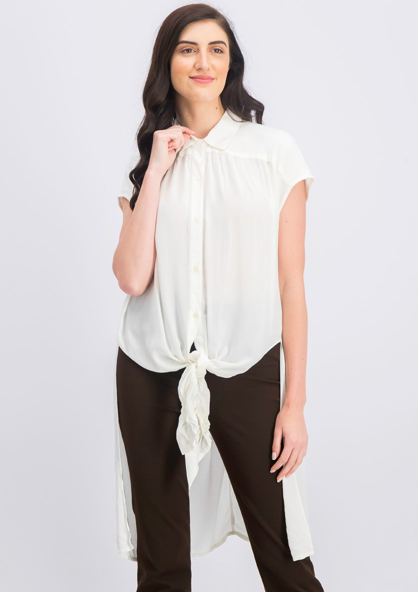 Women's Button Down Tunic Shirt, Cream