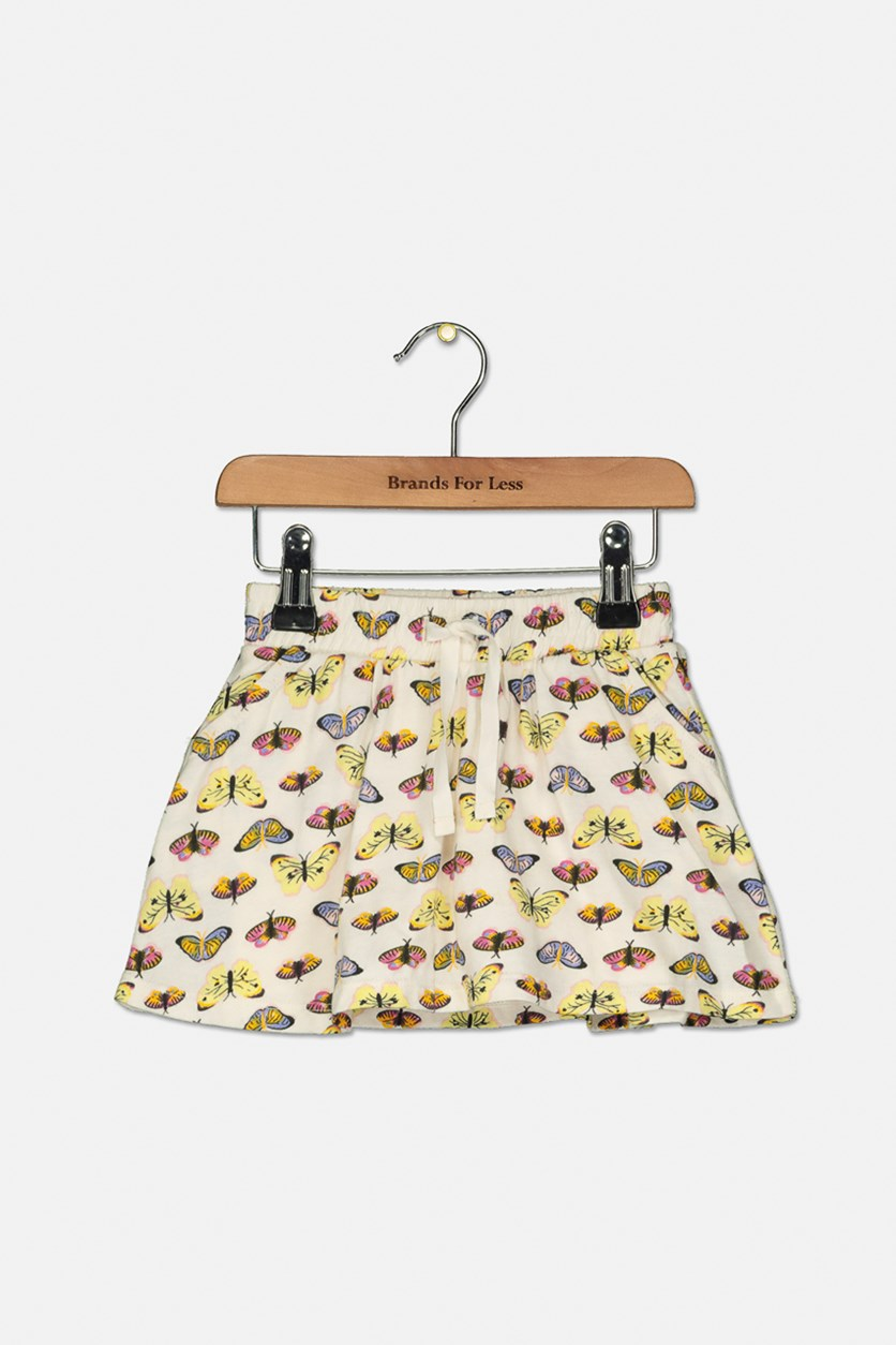 Toddler Butterfly Print Skirt, Beige Combo