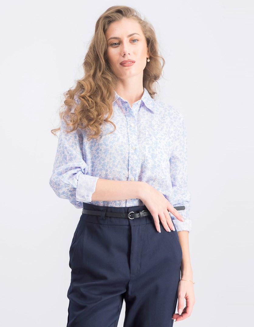 Women's Allover Print Shirt, Blue Combo