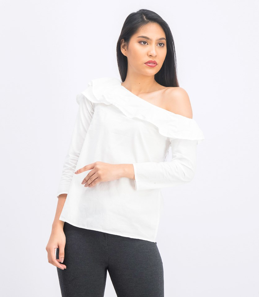 Women's Asymmetrical Neckline Blouse, White