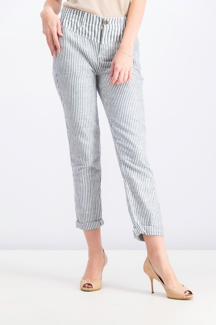 Women's Stripe Girl Friend Chino Pants, Grey/White