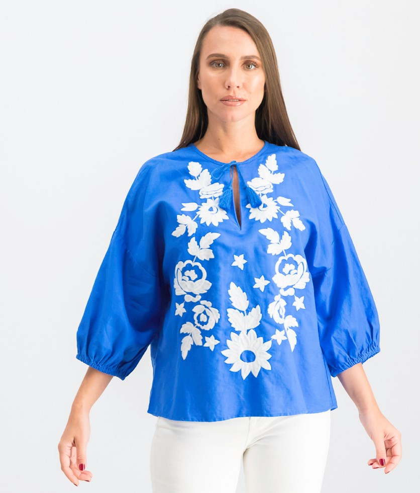 Women's Embroidered Top, Blue