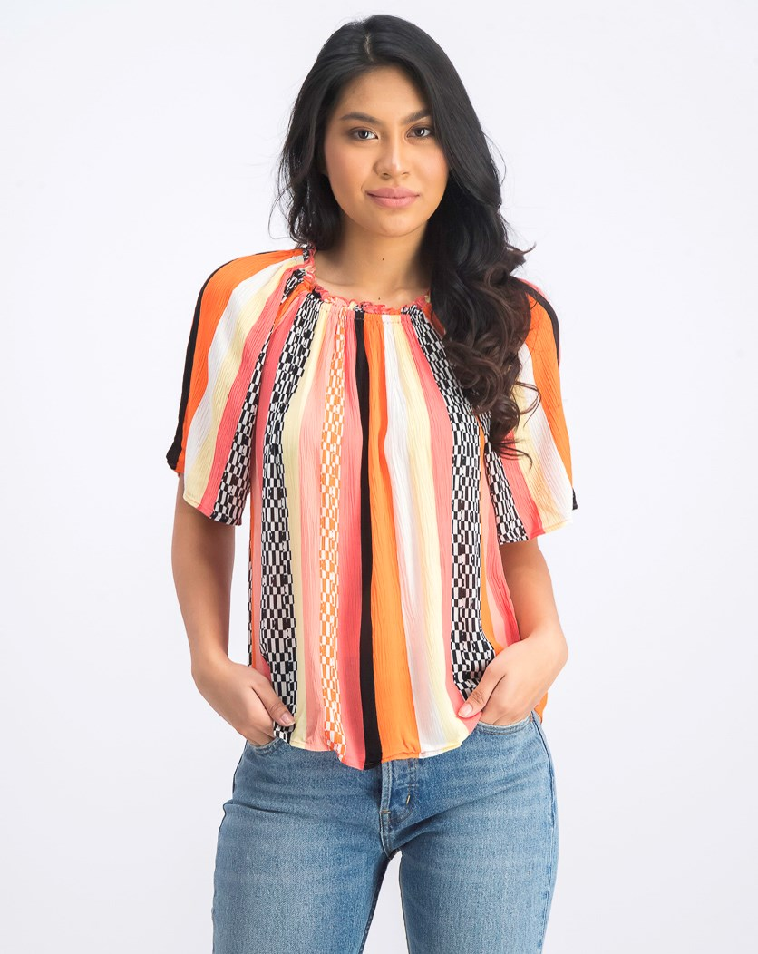 Women's Short Sleeve Blouse, Orange/Black/White Combo