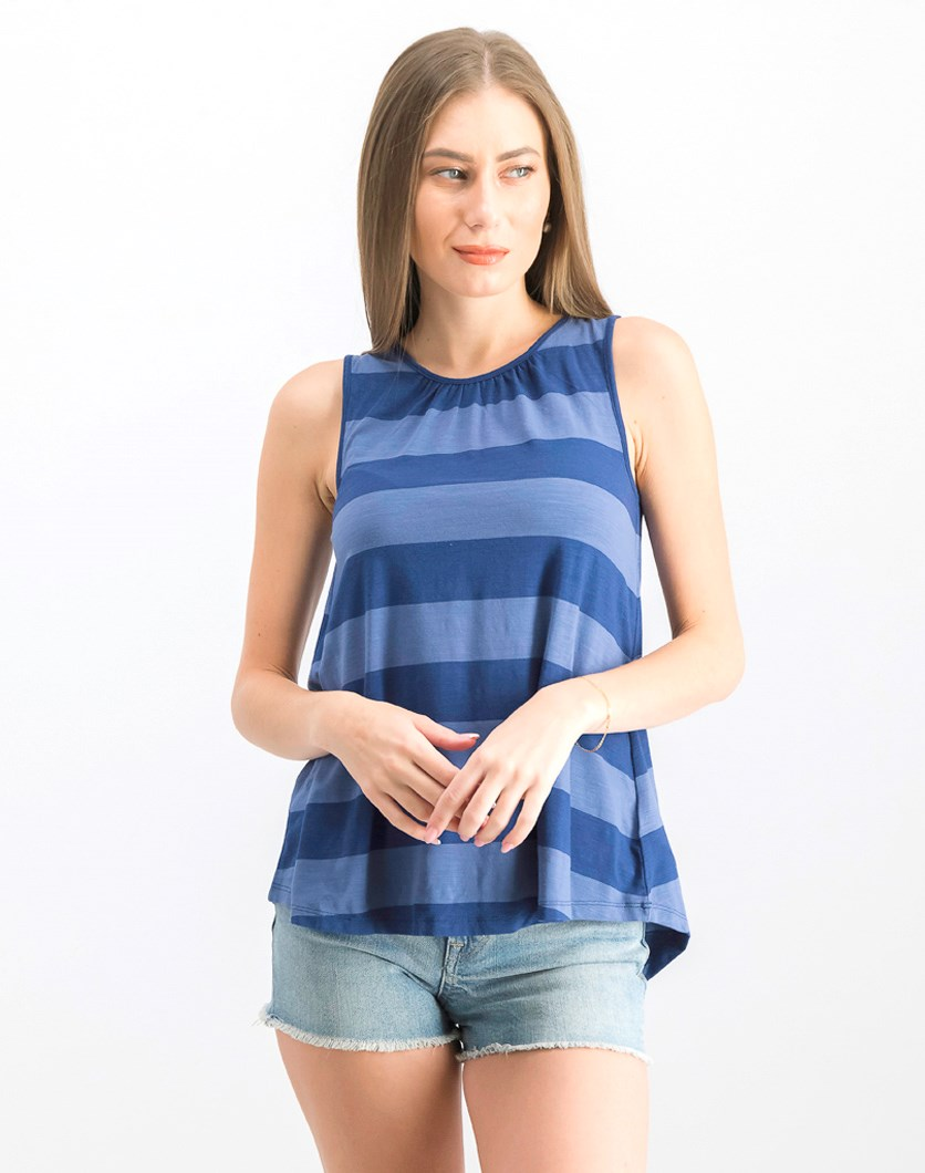 Women's Sleeveless Stripe Tank Top, Navy Blue