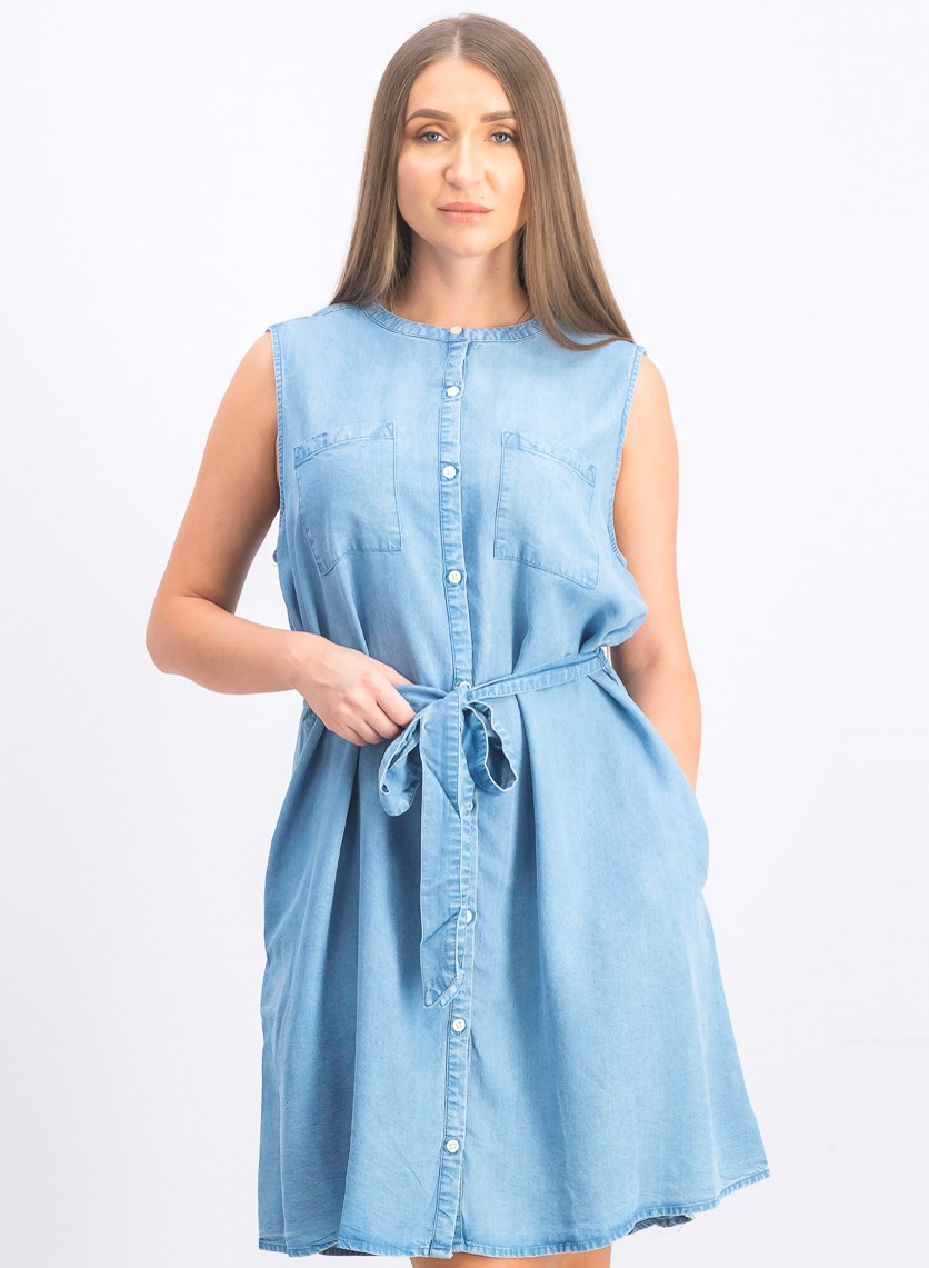 Women's Belted Sleeveless Dress, Blue Wash
