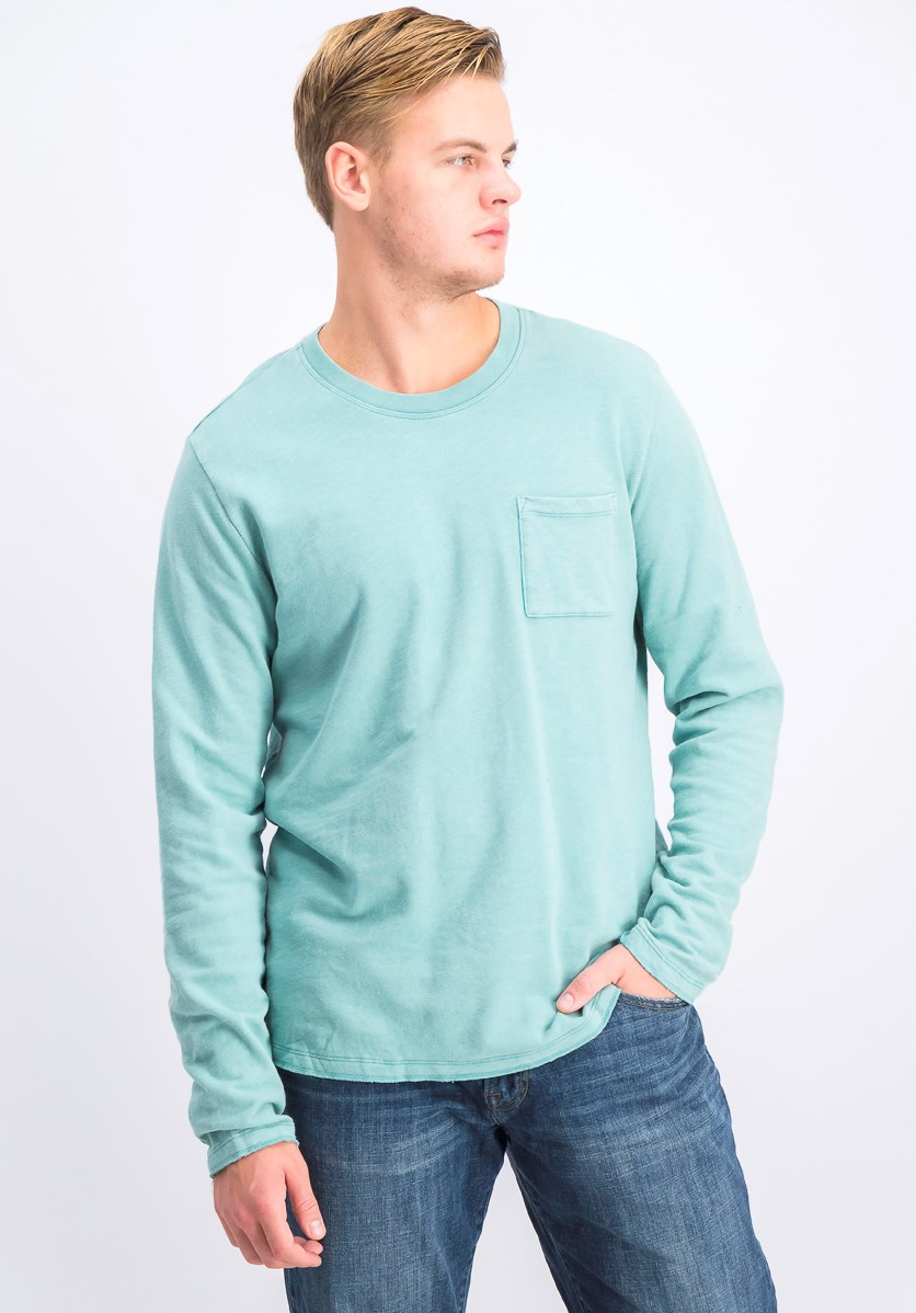 Men's Front Pocket Sweatshirt, Light Green