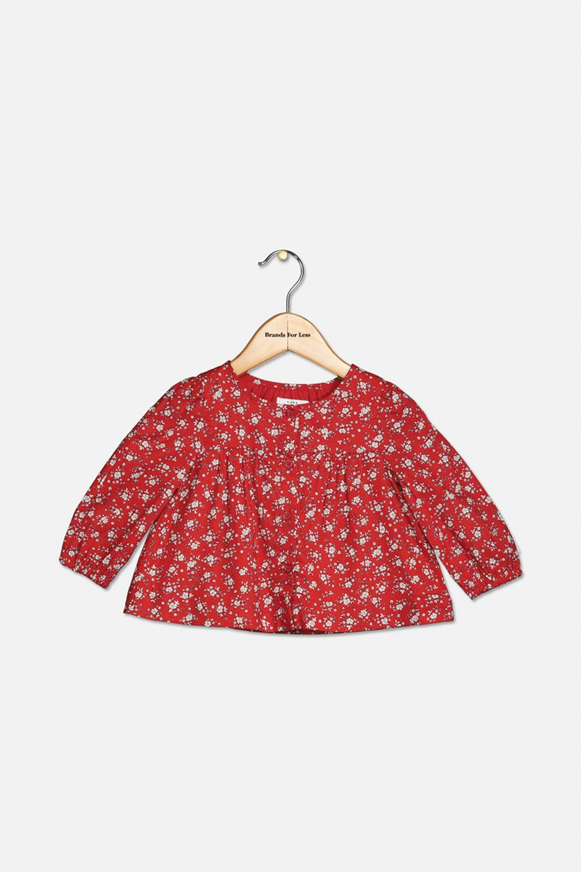 Toddler Girls Floral Print Top, Red