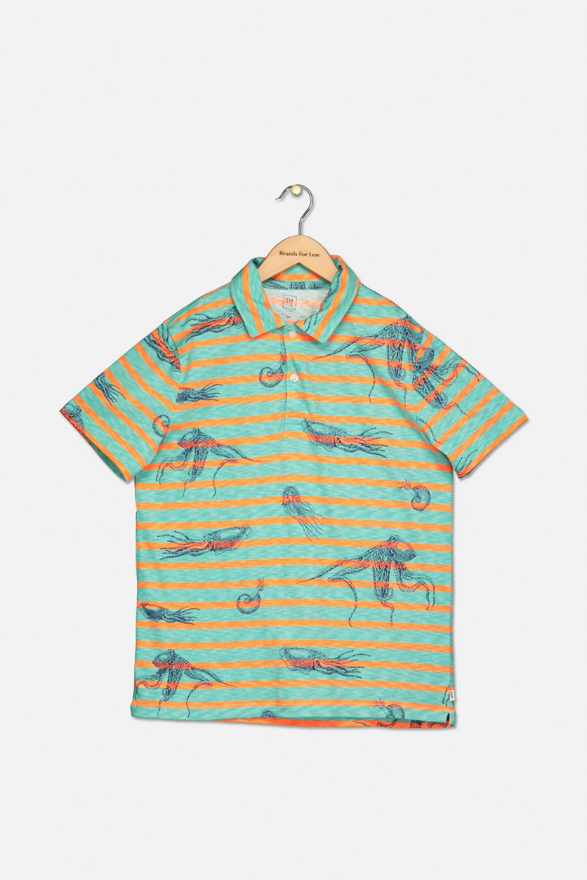 Kids Boys Stripe Print Polo Shirt, Green/Orange