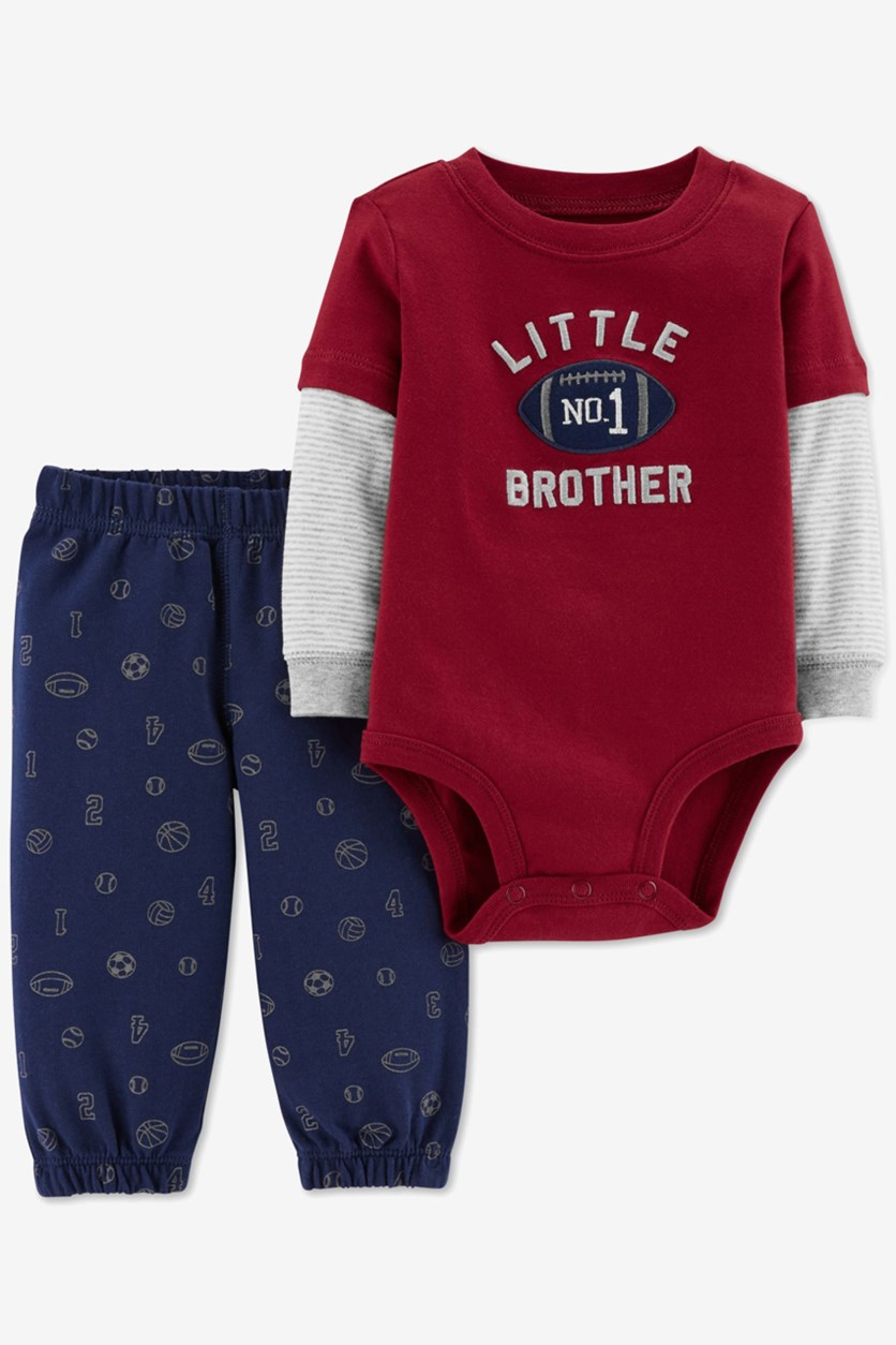 Baby Boys No.1 Little Brother Bodysuit & Pants Set, Red/Navy