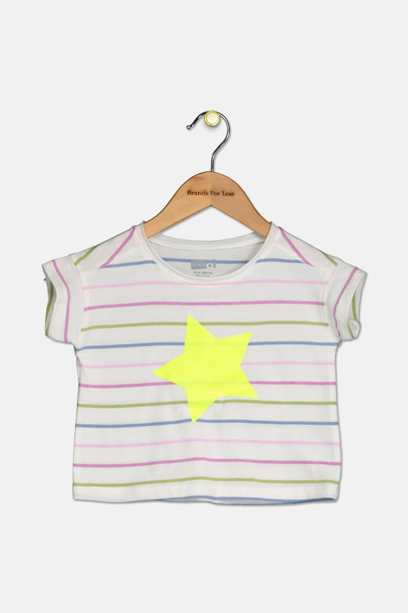 Kids Girls Stripe Top, White Combo
