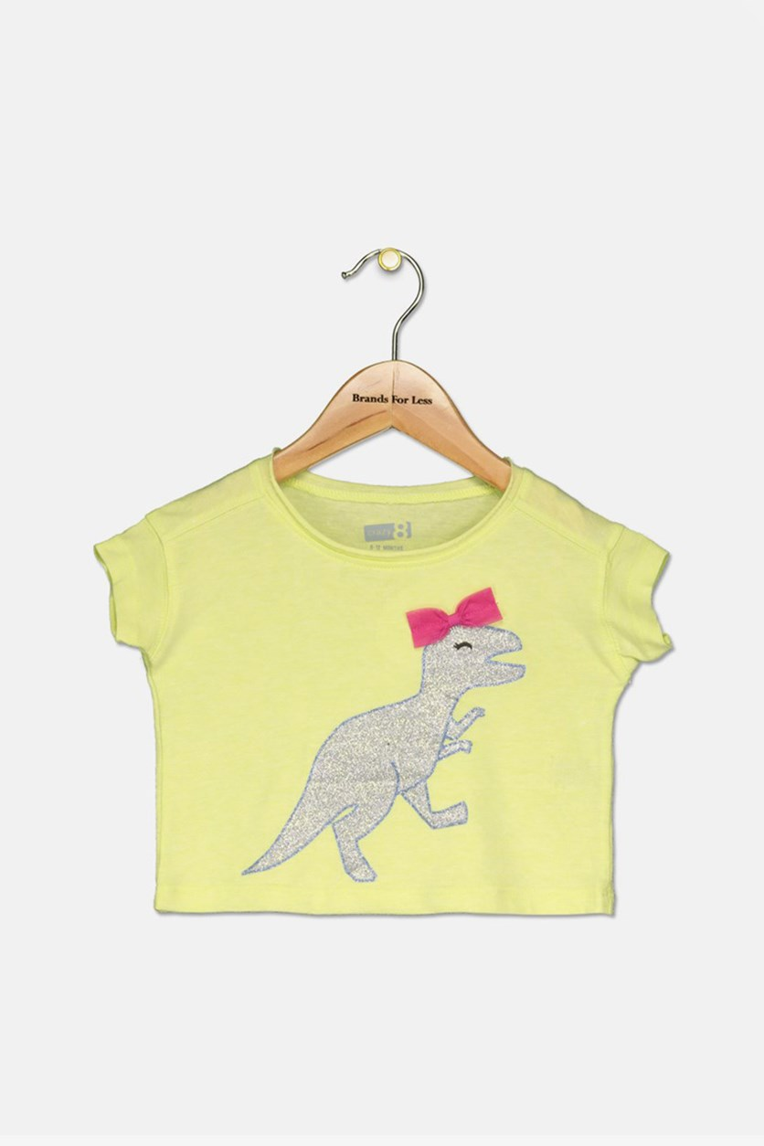 Kids Girls Glittered Dino With Bow Tee, Lime