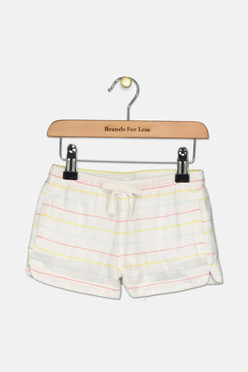 Kids Girls Stripe Short, White Combo