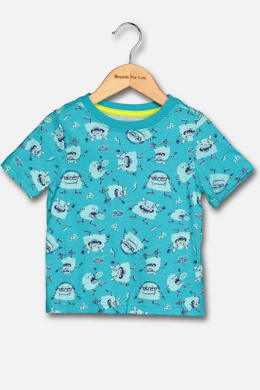Kids Boy's Allover Print Tee, Turquoise