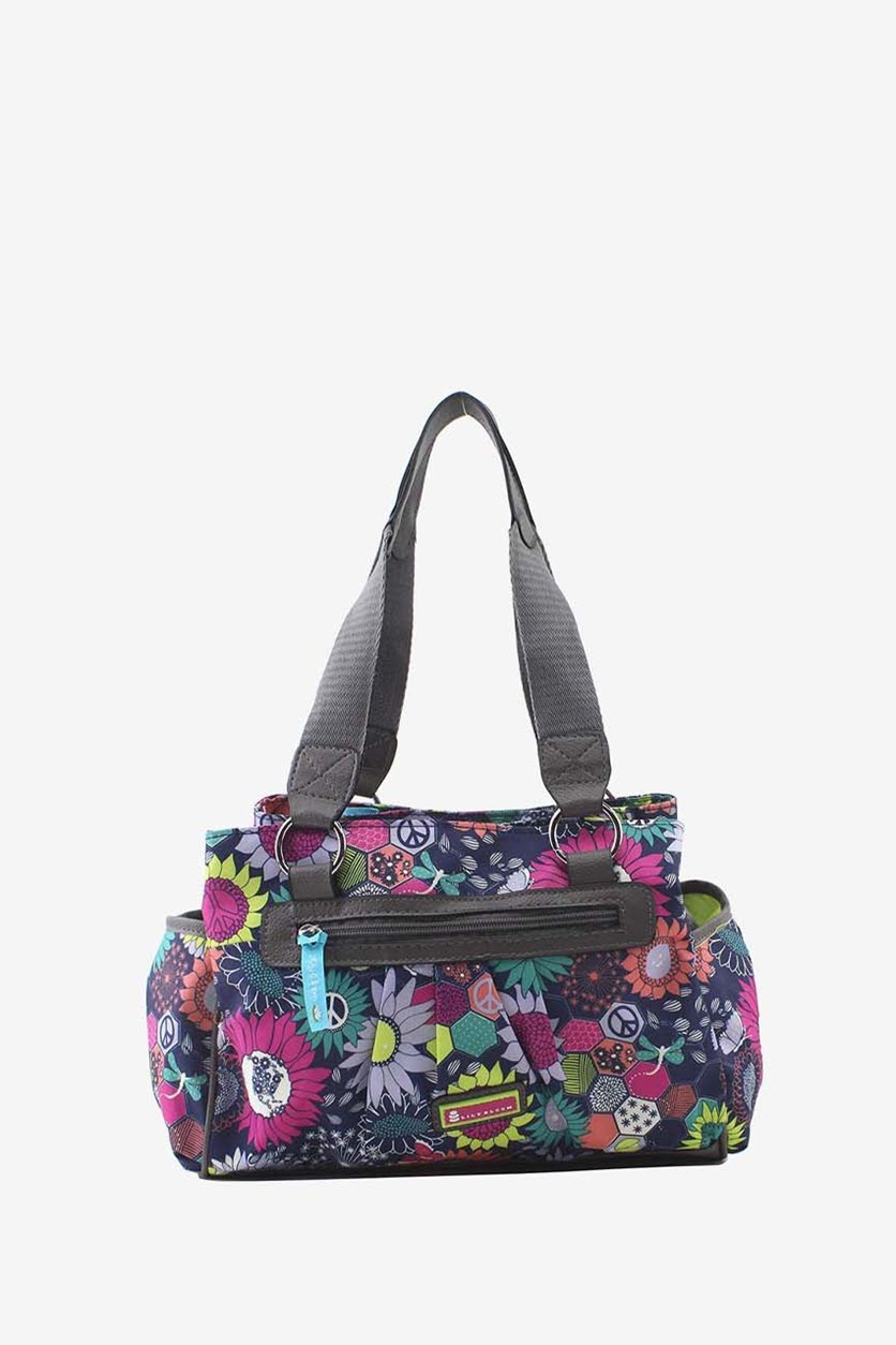 Sunflower Peace Triple Section Satchel, Navy Combo