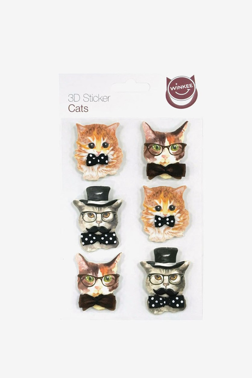 Cats 3D Stickers, Brown/Black Combo