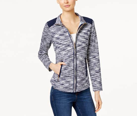 Charter Club Petite Zip-Up Space-Dye Jacket, Intrepid Blue