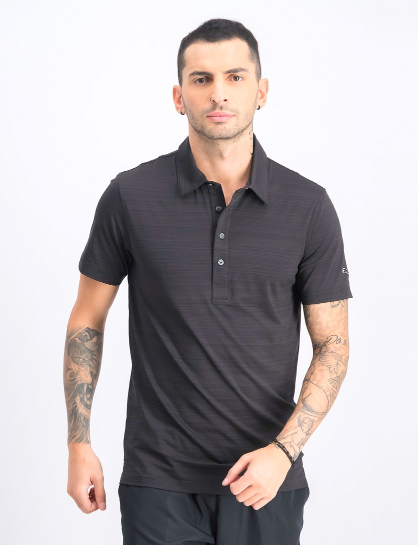 Men's Barcode Stripe Short Sleeves Polo, Black