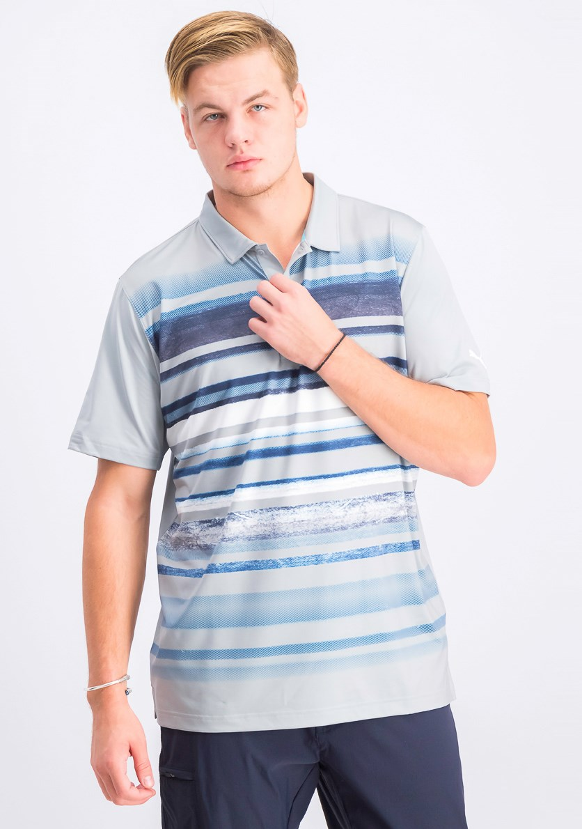 Men's Washed Striped Polo Shirt, Gray