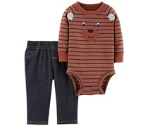 Carter's Infant Boys' Brown Bear Faux Denim Set, Brown