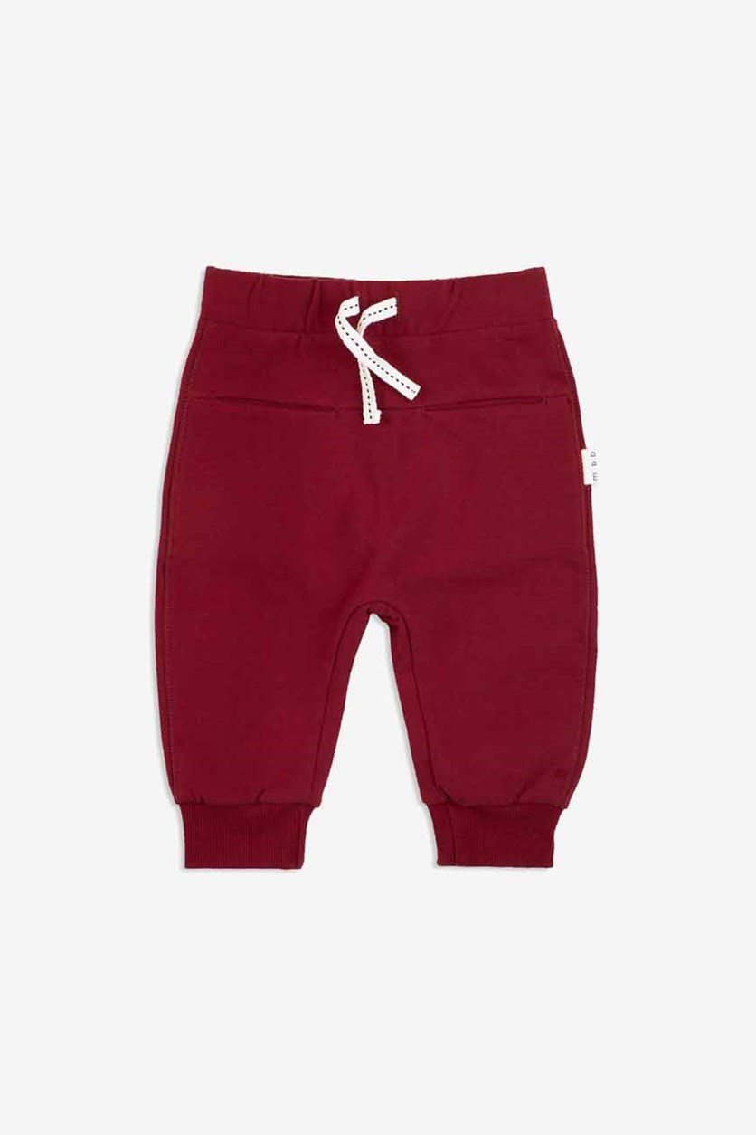 Toddler Boys Drawstring Pants, Dark Red
