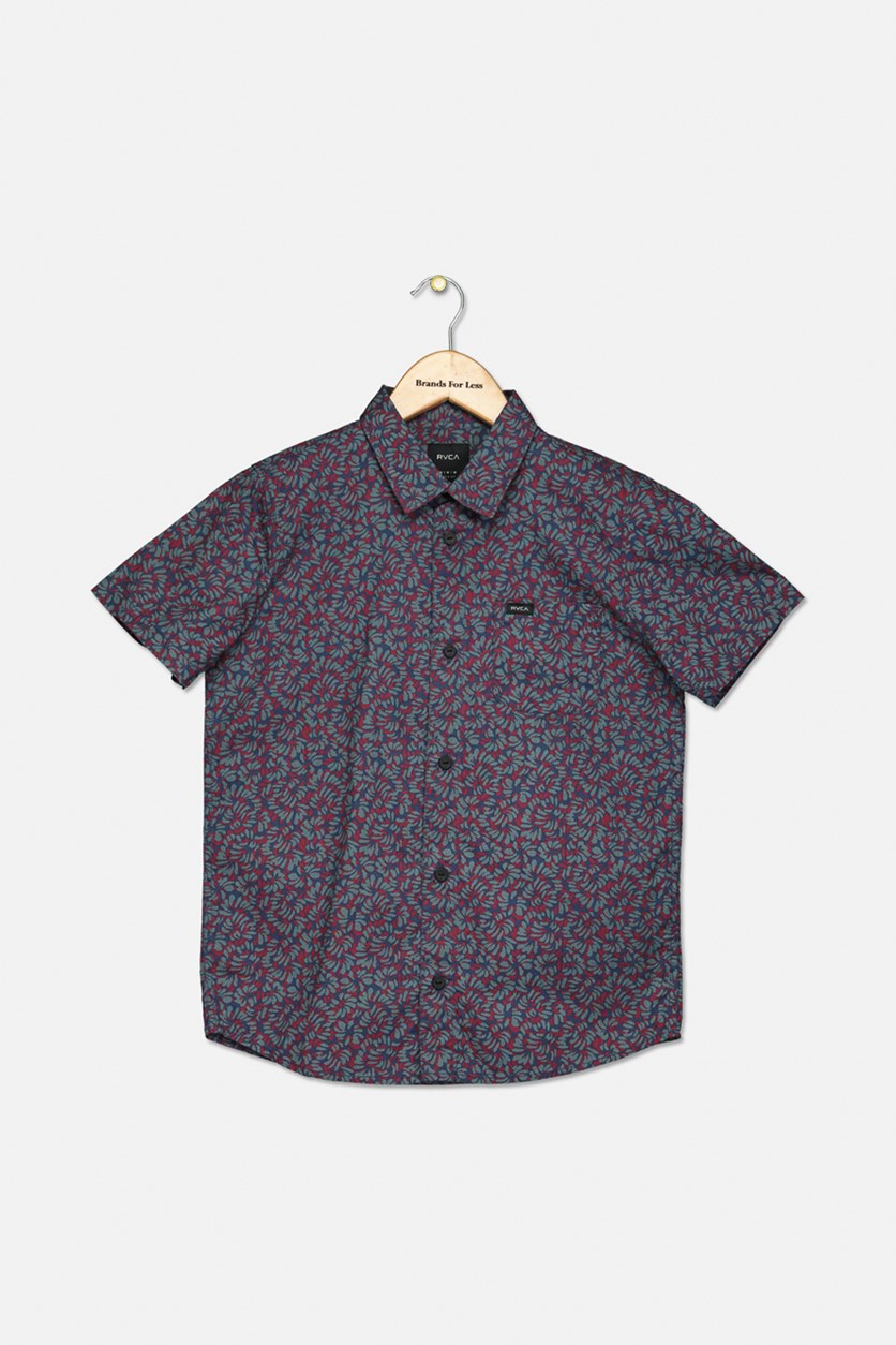 Boy's Brong Floral Woven Shirt, Dark Denim Combo