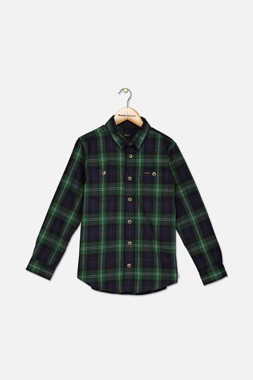 Big Boys Plaid Casual Shirt, Green Combo