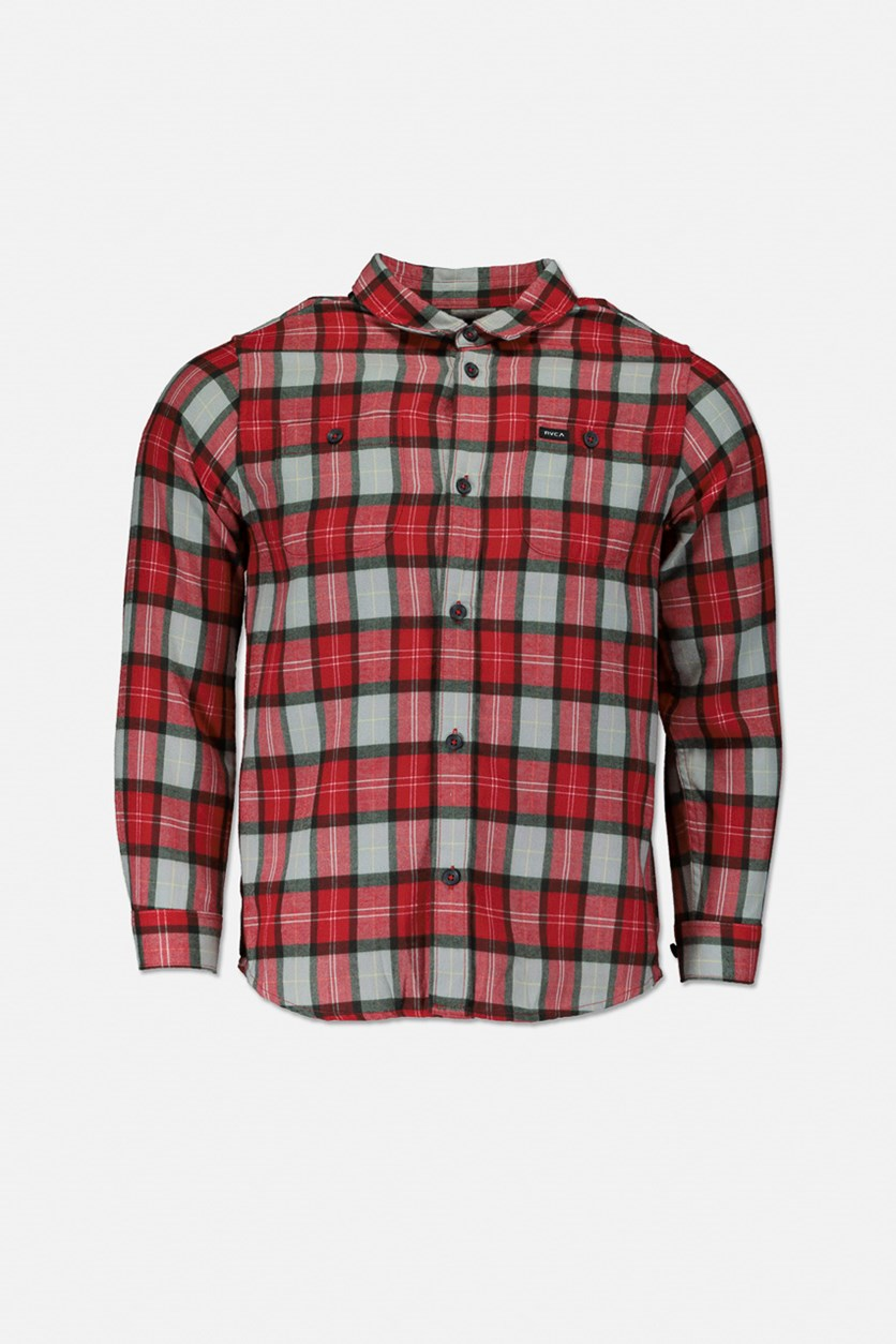Boy's Bone Flannel Long Sleeve Shirt, Red Combo