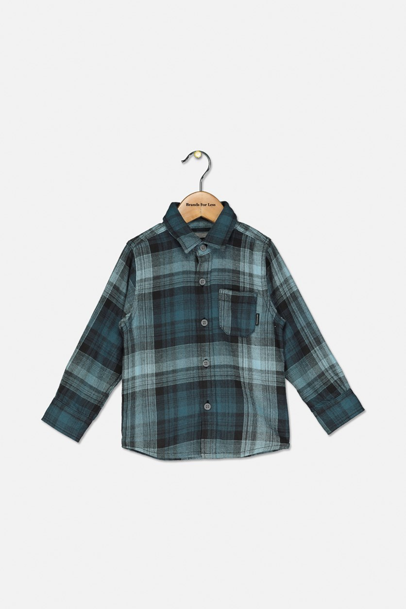 Toddler Boy's Fatherfly Plaid Shirt,  Aqua Combo