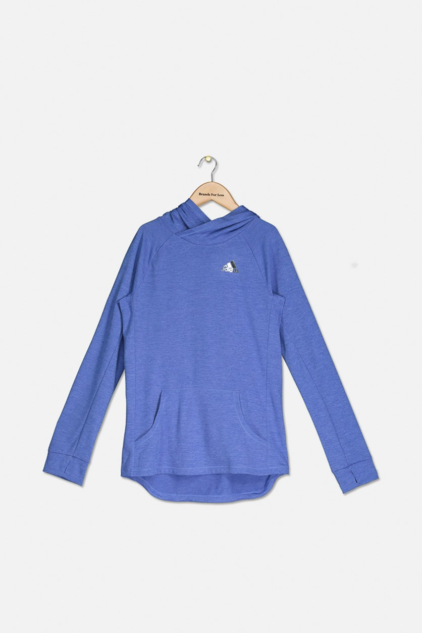 Girls Pullover Space Dye Breathable Knit Hoodie, Blue Lilac