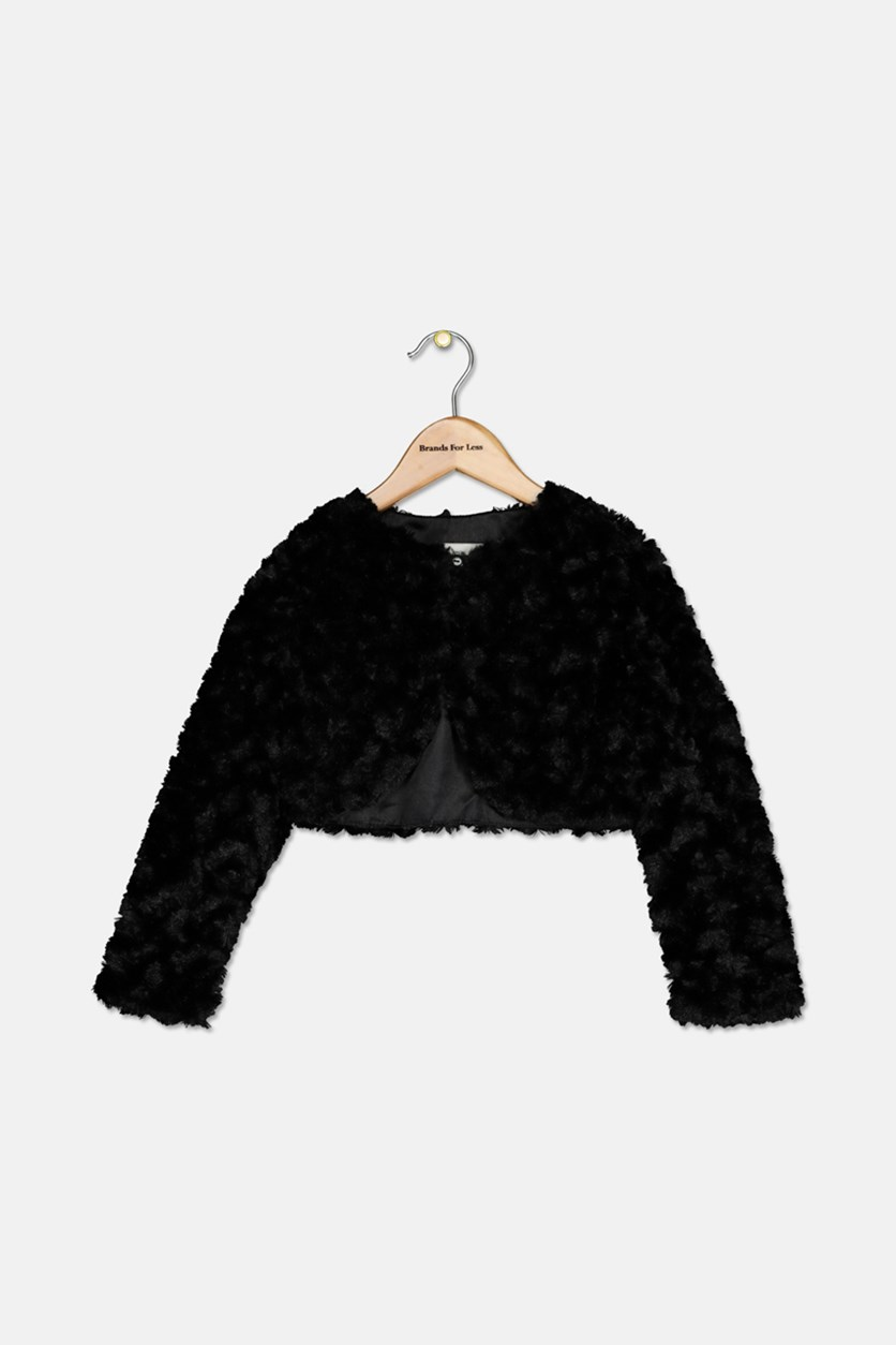 Little Girls Faux Fur Shrug, Black