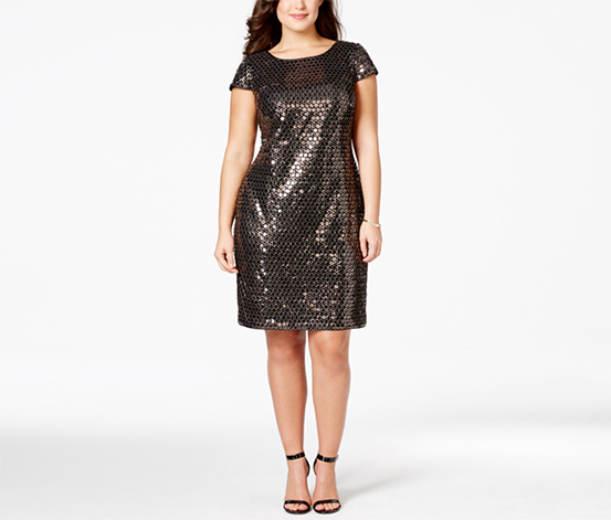 Adrianna Papell Women's Plus Size Sequined Sheath Dress, Gold/Black