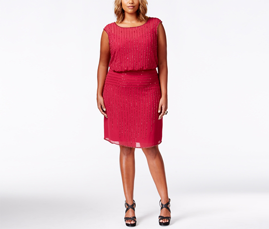 Adrianna Papell Women's Plus Size Beaded Cap-Sleeve Dress, Red