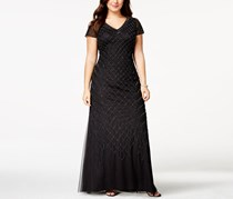 Adrianna Papell Plus Size Cap Sleeve Beaded Gown, Black