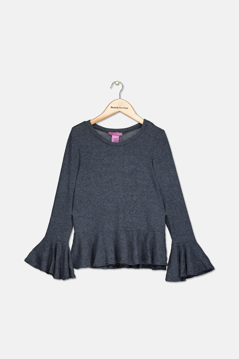 Kids Girls Bell Sleeve Top, Retro Navy