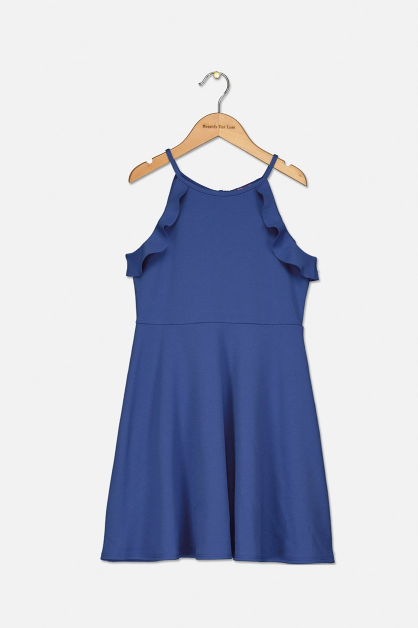 Girls' Ruffled Fit-and-Flare Dress, Blue