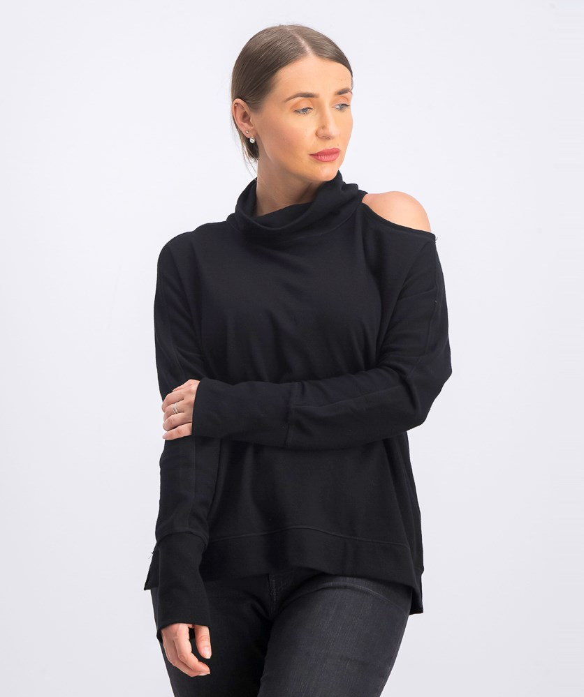 Women's Mock-Neck Cold-Shoulder Sweater, Deep Black