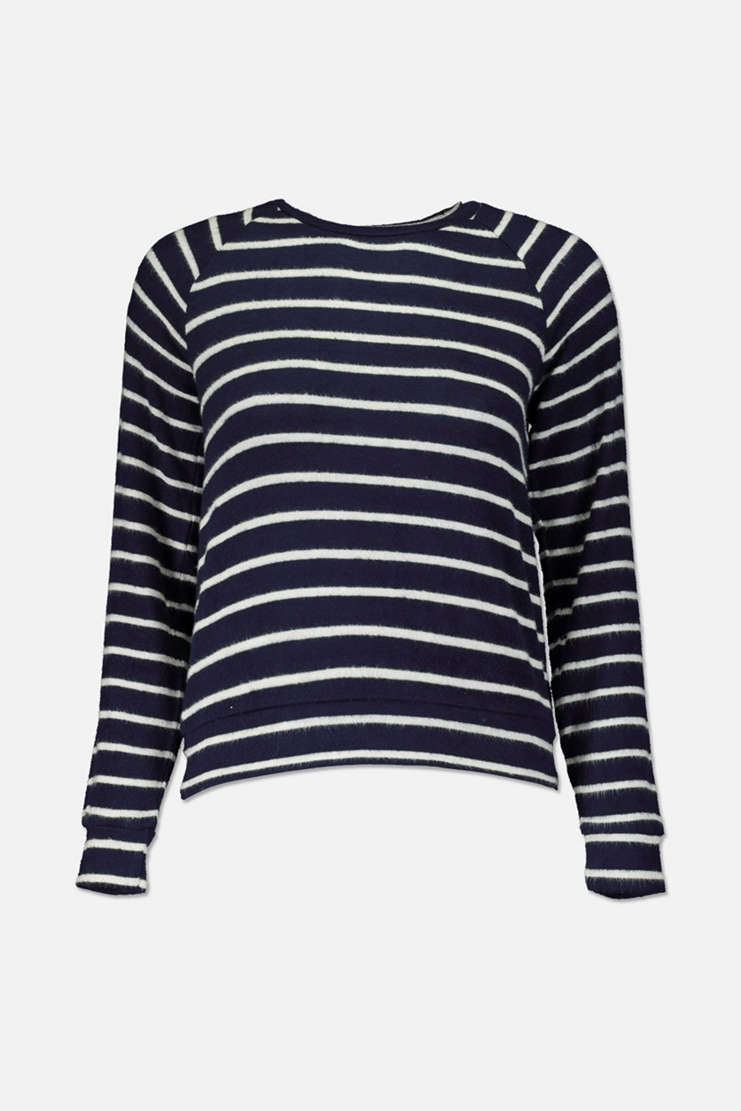 Big Girls Striped Long-Sleeve Sweater, White/Navy