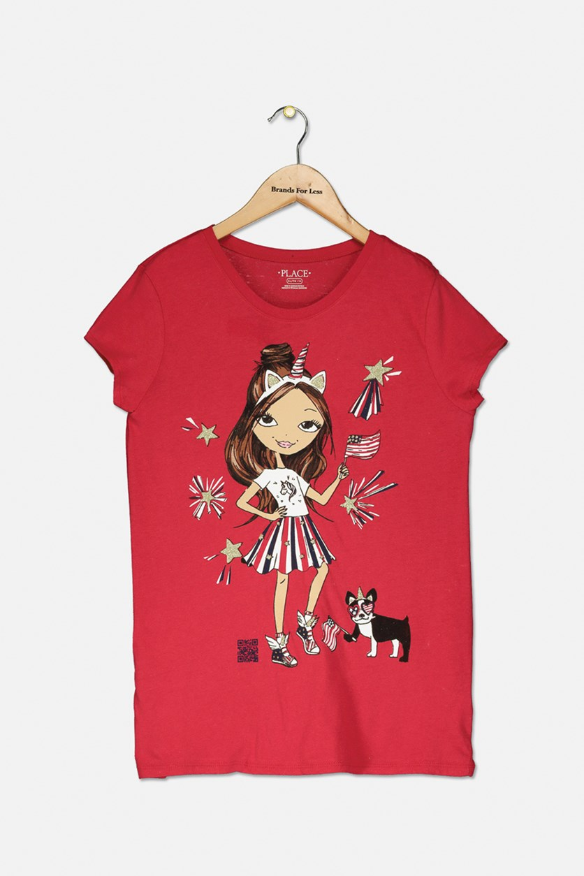 Kid's Girl's Graphic Top, Red