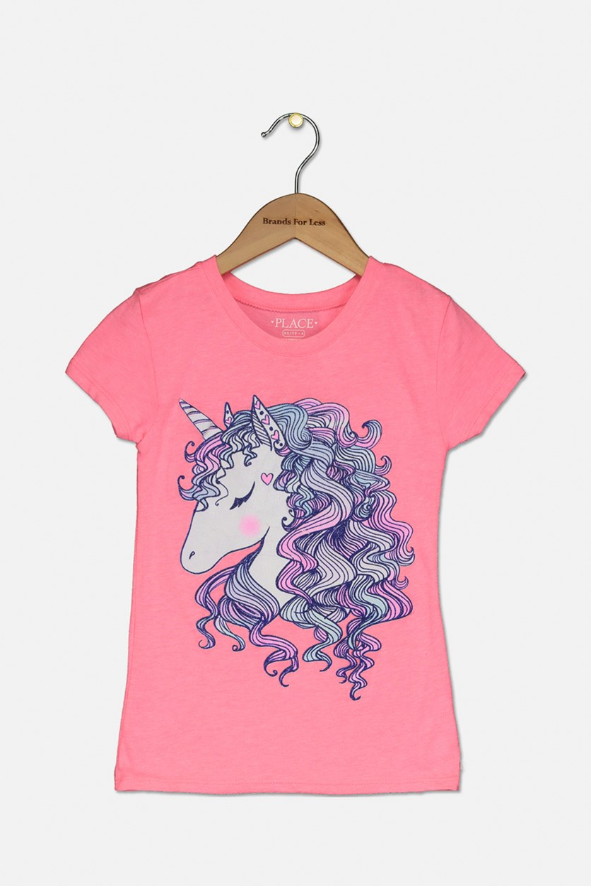 Kid's Girl's Graphic Top, Energy Pink