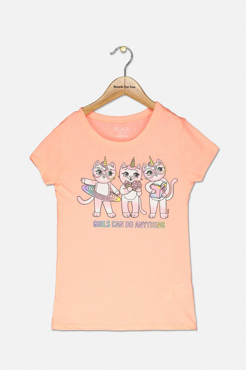 Kid's Girl's Graphic Top, Coral Rocket