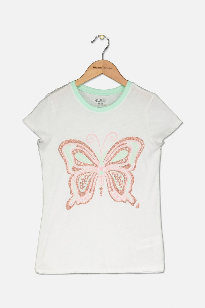 Girl's Butterfly Glitter Graphic Top, White