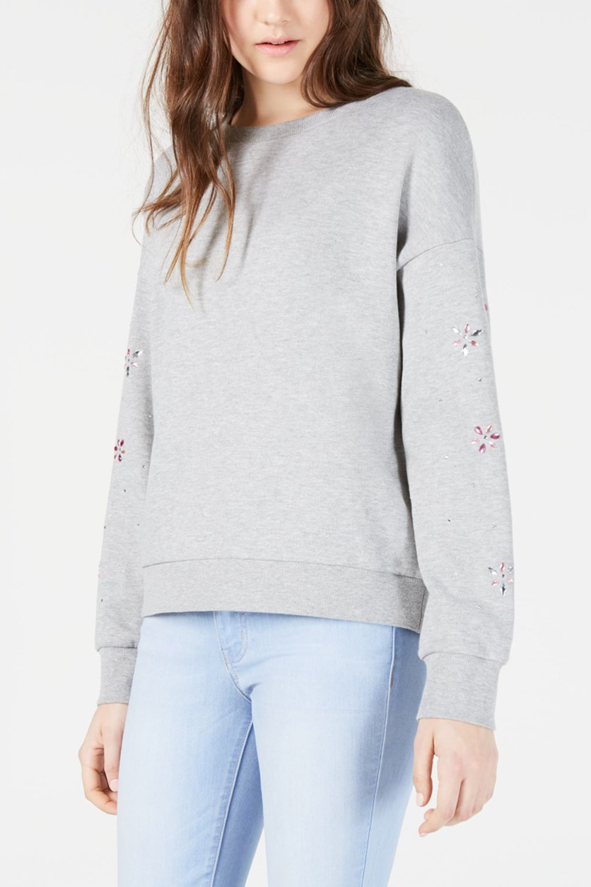 Juniors' Embellished Sweatshirt, Light Grey Heather