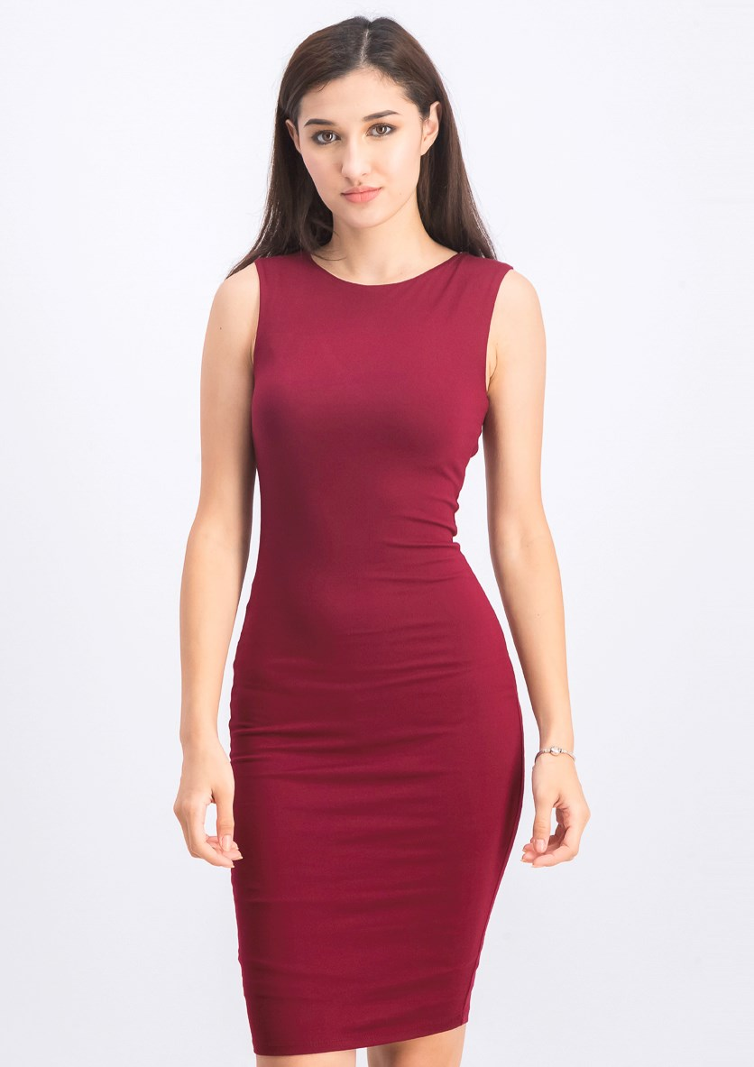 Women's Lace Back Midi Dress, Maroon