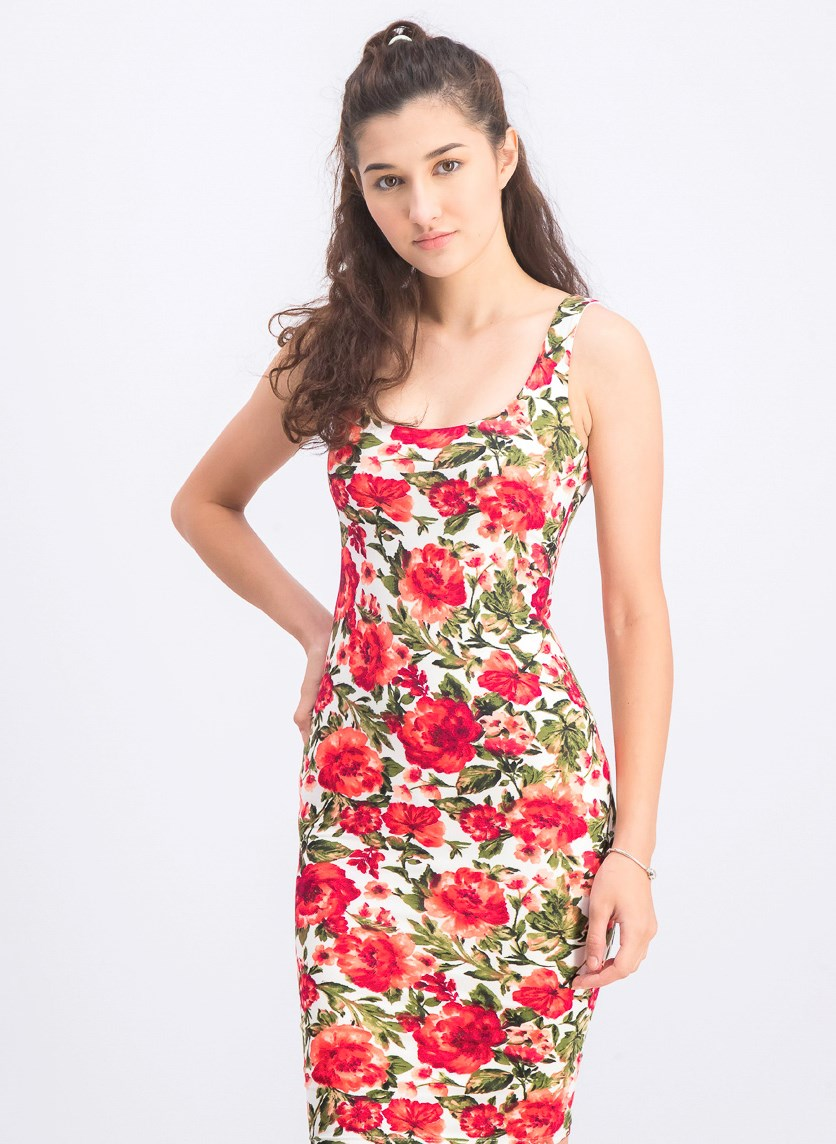 Women's Floral Dress, Red Combo