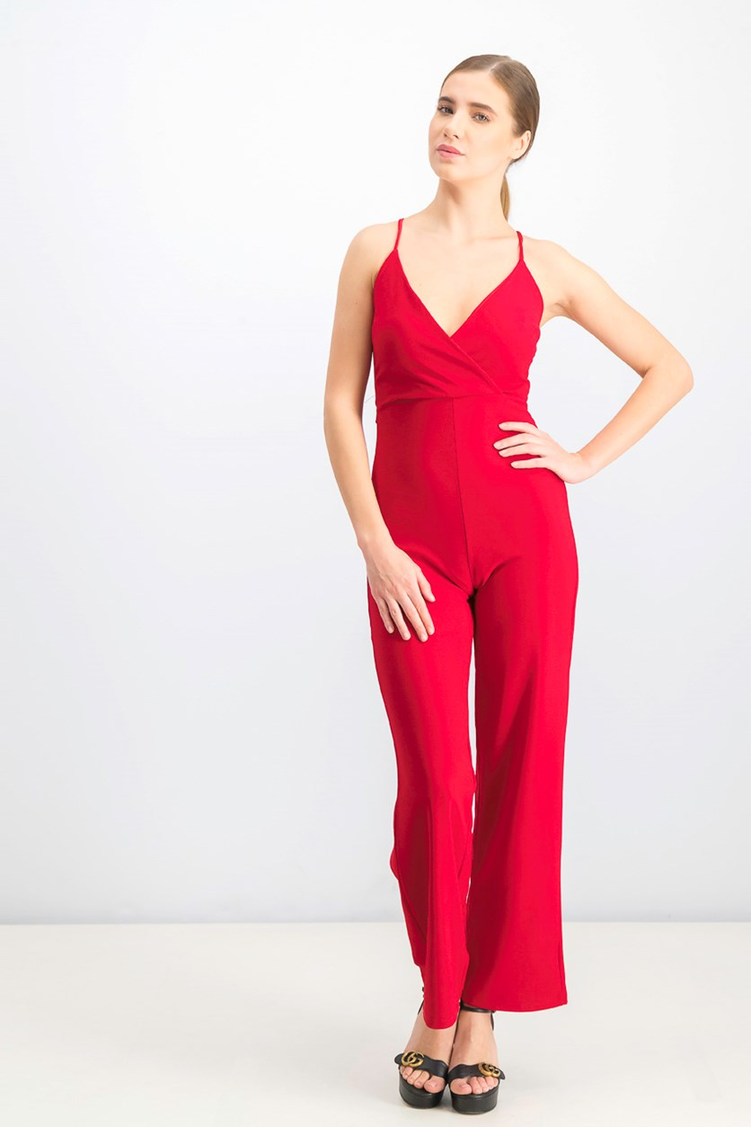 Women's V-Neck Jumpsuits, Red