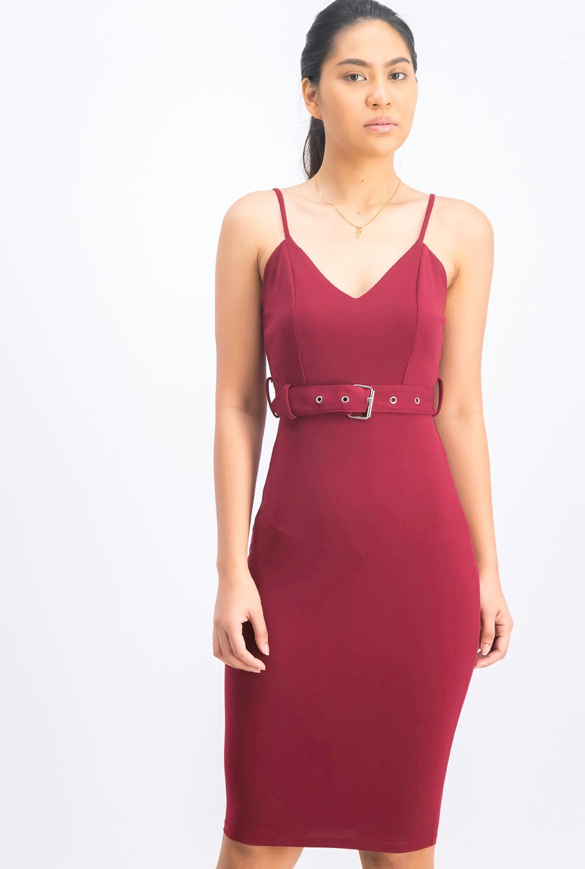 Women's Plain Belted Bodycon Dress, Maroon