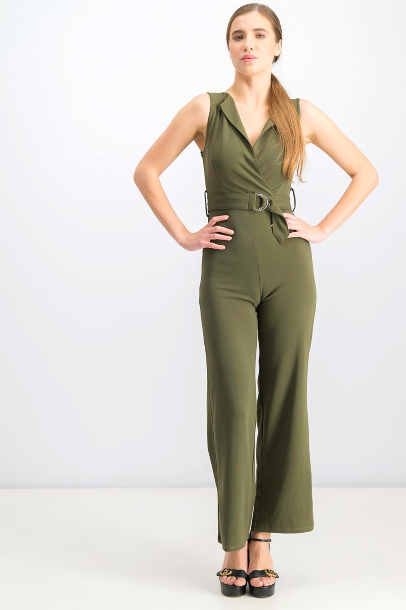 Women's V-neck with Belt Jumpsuits, Olive
