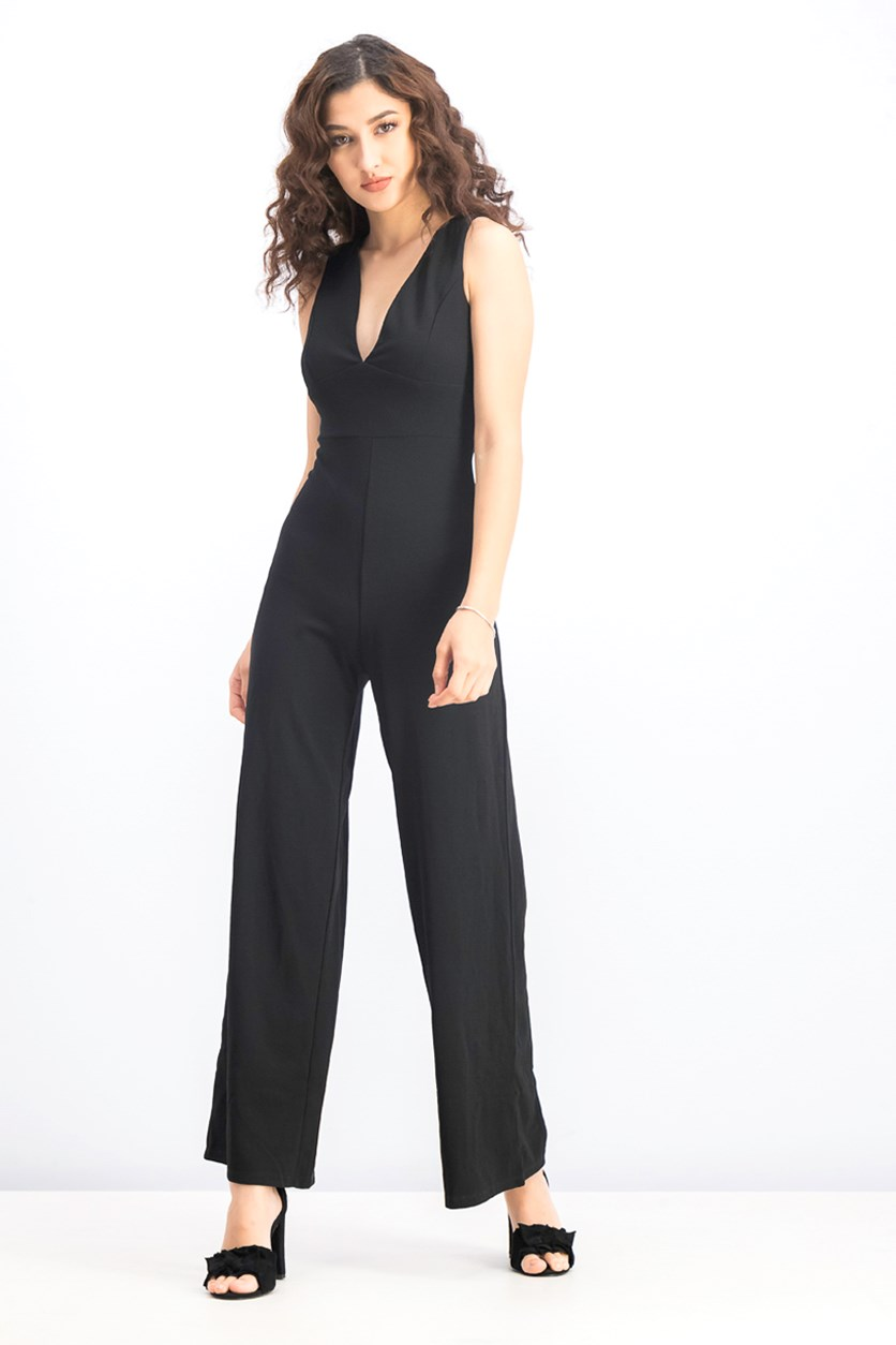Women's Sleeveless with Zipper Jumpsuits, Black